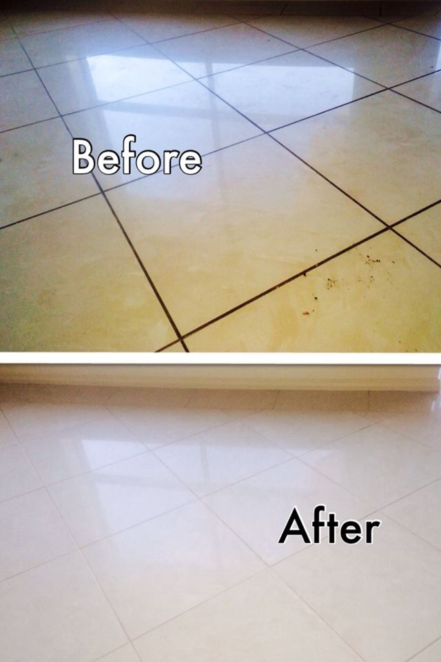 Before and after picture of some very grubby grout lines and tiles that's been professionally cleaned by Go Clean